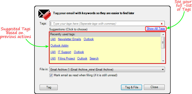 Tag email with keywords